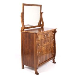 American Empire Burl Veneer High Boy Dresser