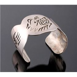 Signed Hopi Sterling Silver Bear Cuff