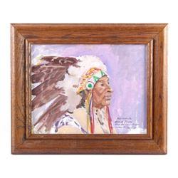 Original Mel Fillerup Oil on Board Indian Painting