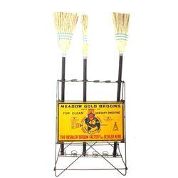 Rare Meadow Gold Brooms Deshler Broom Factory Rack