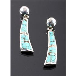 Signed Navajo Sterling Silver Turquoise Earrings