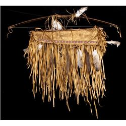 Plains Indian Tanned Hide Bow & Beaded Quiver