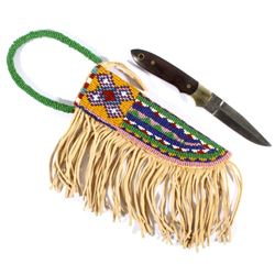 Fine Crazy Crow Beaded Scabbard & Damascus Blade