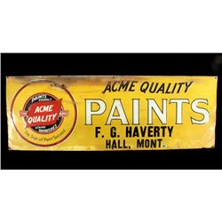 Acme Quality Paints Embossed Tin Sign - Hall, MT