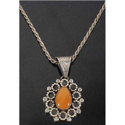 Signed Navajo Orange Carnelian & Sterling Necklace