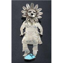N. Morton Navajo Silver & Turquoise Kachina Brooch