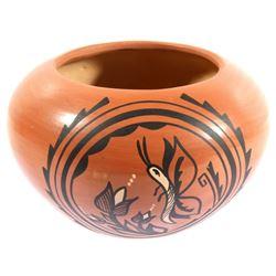 Signed Jemez Pueblo Carved Earthenware Vase