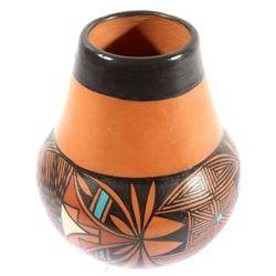 Signed Acoma Pueblo Tapered Earthenware Vase
