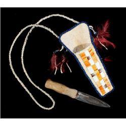 Crow Dag Knife & Quill Parfleche Necklace Scabbard