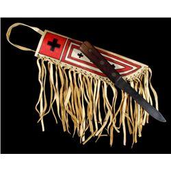 Blackfoot Painted Parfleche Scabbard & Knife