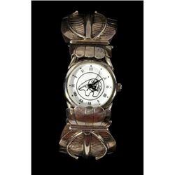 Zuni Sterling Silver Feather Motif Watch