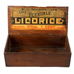 Early Flexible Licorice Advertising Wood Crate