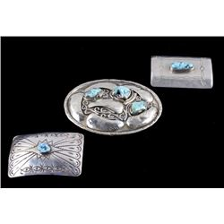Navajo Turquoise & Silver Belt Buckles & Brooch
