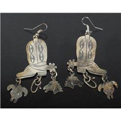 Tim Yazzie Navajo Sterling Cowboy Boot Earrings