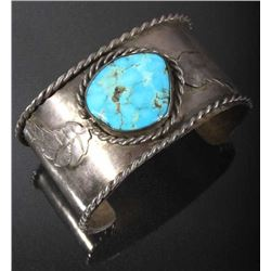 Signed Navajo Silver & Turquoise Mountain Bracelet