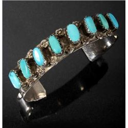 Navajo Sterling & Sleeping Beauty Turquoise Cuff