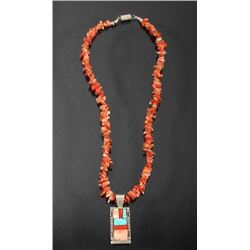 Navajo Branch Coral & Mosaic Pendant Necklace