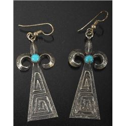 Signed Navajo Sand-Cast Silver, Turquoise Earrings