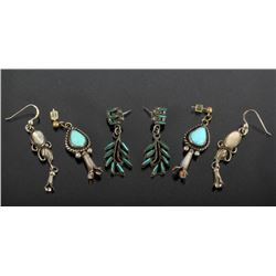 Native American Sterling & Gemstone Earrings (3)