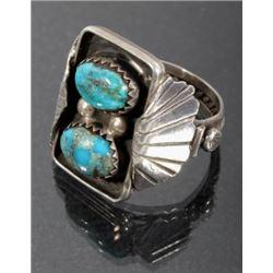 Navajo Pilot Mountain Turquoise & Silver Ring