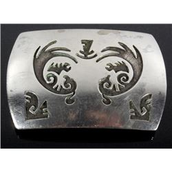 Signed Zuni Tooled Sterling Silver Belt Buckle