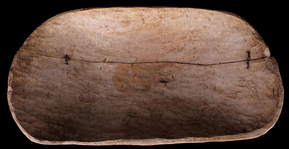 Primitive Antique Wooden Dough Bowl And Spoon