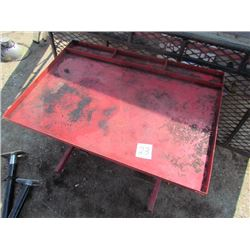 metal work table on casters, adjustable