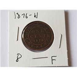 1876 H Large Penny