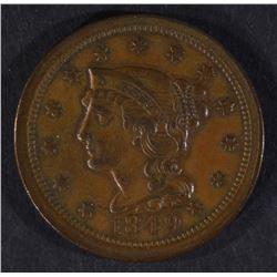 1849 LARGE CENT, XF/AU