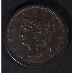 1851 HALF CENT, CH BU