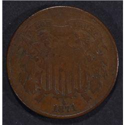 1871 2-CENT PIECE F/VF KEY DATE