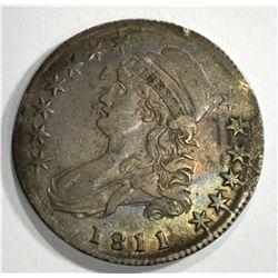 1811 CAPPED BUST HALF DOLLAR, XF/AU RARE!!