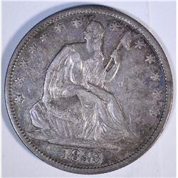 1843 SEATED HALF DOLLAR, XF/AU