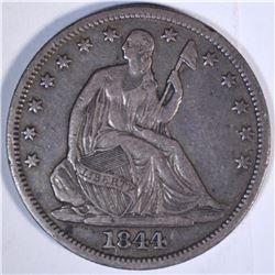 1844-O SEATED HALF DOLLAR, XF/AU NICE