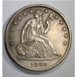1860-S SEATED HALF DOLLAR, XF
