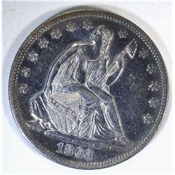 1863 SEATED HALF DOLLAR, AU/BU RARE!!