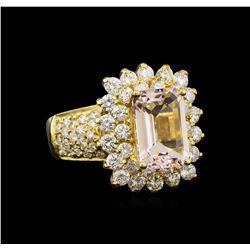 14KT Yellow Gold 3.06 ctw Morganite and Diamond Ring