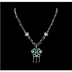 2.90 ctw Emerald and Diamond Necklace - 18KT White Gold