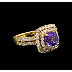 14KT Yellow Gold 1.76 ctw Tanzanite and Diamond Ring