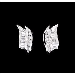 1.59 ctw Diamond Earrings - 14KT White Gold