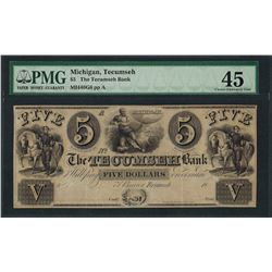 1800's $5 The Tecumseh Bank Obsolete Note PMG Choice Extremely Fine 45