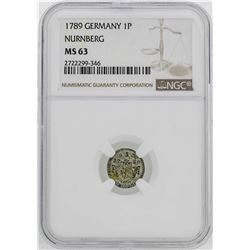 1782 Germany Nurnberg Pfennig Coin NGC MS63