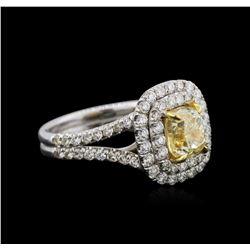 14KT White Gold 2.78 ctw Fancy Yellow Diamond Ring