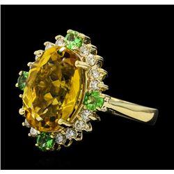 6.10 ctw Citrine Quartz, Tsavorite, and Diamond Ring - 14KT Yellow  Gold