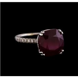 10.16 ctw Ruby and Diamond Ring - 14KT White Gold
