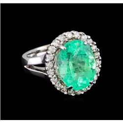 7.20 ctw Emerald and Diamond Ring - 14KT White Gold