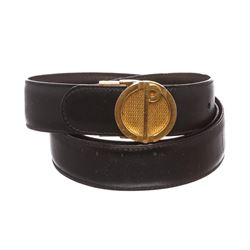 Dunhill Black Leather Gold Buckle Logo Belt