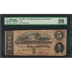 1864 $5 Confederate States of America Note T-69 PMG Choice About Uncirculated 58