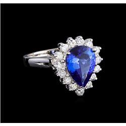2.96 ctw Tanzanite and Diamond Ring - 14KT White Gold