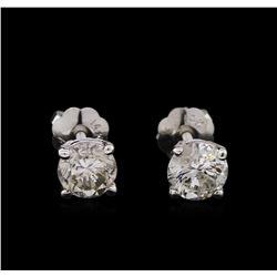 0.84 ctw Diamond Stud Earrings - 14KT White Gold